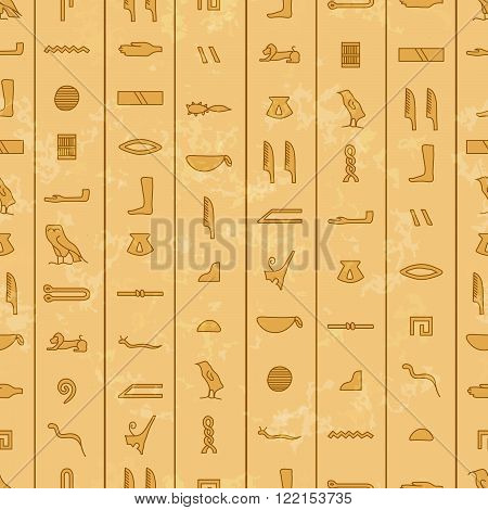 Antique egyptian hieroglyphics on stone colour seamless pattern