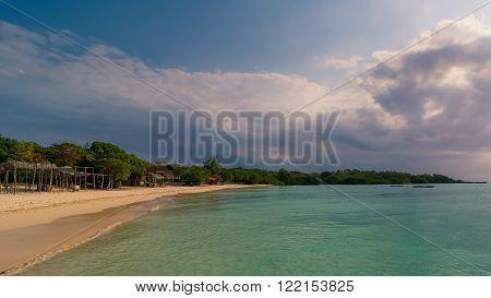 In the picture a beautiful beach of Zanzibar in the evening republic of Tanzania.