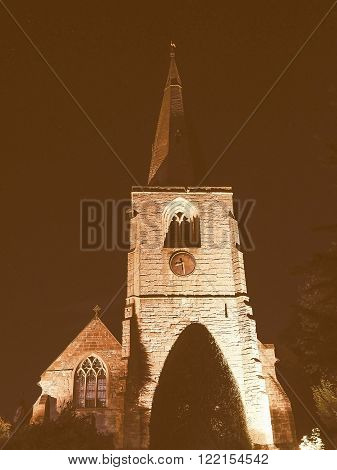 St Mary Magdalene Church In Tanworth In Arden At Night Vintage