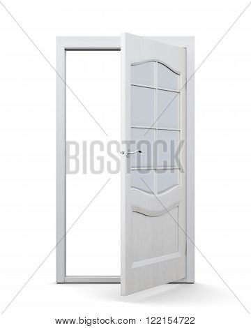 Door with glass isolated on white background. 3d rendering. Interior door with glass insert, open.