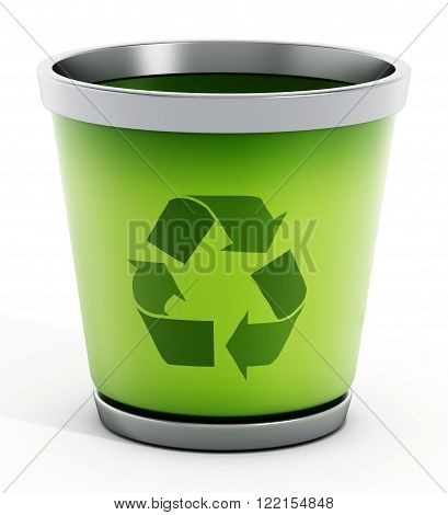 Green and white recycle bin isolated on white background.