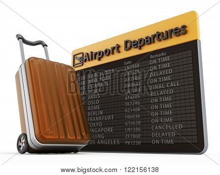 Airport departure board and suitcase isolated on white background