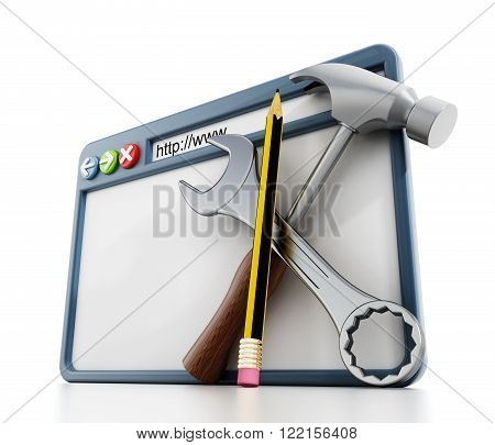 Website construction concept with webpage and hand tools