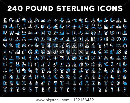 240 British Business vector icons. Style is bicolor blue and white flat symbols on a black background. Pound sterling icon is basic element.