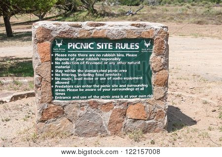 MOUNTAIN ZEBRA NATIONAL PARK SOUTH AFRICA - FEBRUARY 17 2016: Sign at the Weltevrede picnic area in the Mountain Zebra National Park near Cradock in South Africa