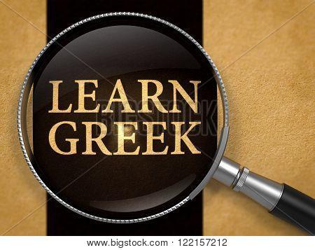 Learn Greek through Lens on Old Paper with Black Vertical Line Background. 3D Render.
