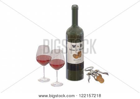 Bottle of wine with glasses and corkscrew isolated on white background
