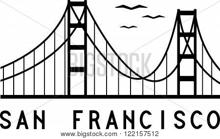 Golden Gate bridge of San Francisco vector illustration