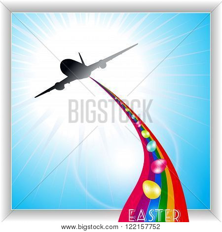 Airplane Releasing Easter Eggs Over a Rainbow on Blue Sky Panel