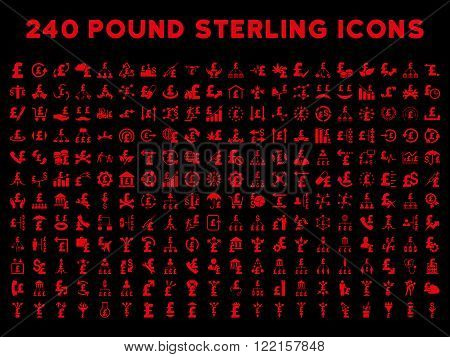 240 British Business vector icons. Style is red flat symbols on a black background. Pound sterling icon is basic element.