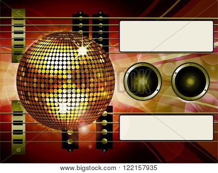 Air Guitar and Bass guitar with Disco Ball Loudspeakers and Tags