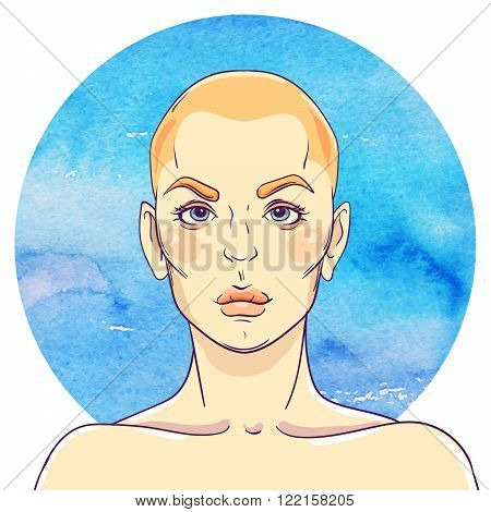 portrait of a young girl with a bald head on watercolor abstract background