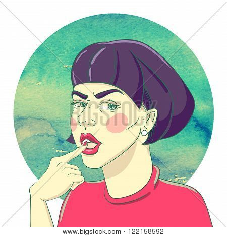 Portrait of suspicious young girl with haircut bob and an earring in the ear on the watercolor background
