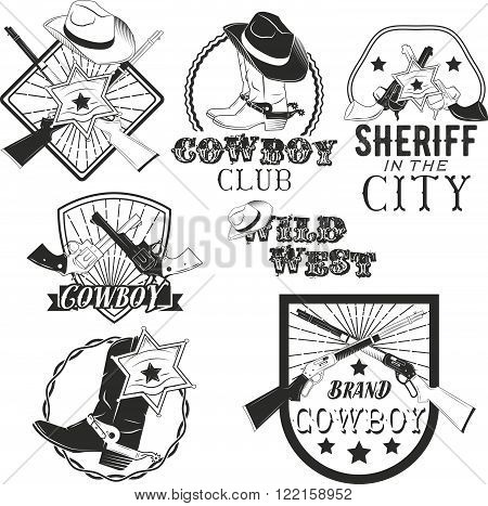 Vector set of cowboy labels in vintage style. Wild west, sheriff, american rodeo. Design elements, icons, logo, emblems and badges isolated on white background.