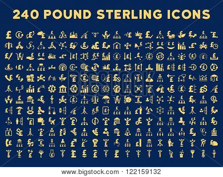 240 British Business vector icons. Style is yellow flat symbols on a blue background. Pound sterling icon is basic element.