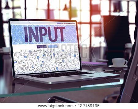 Input Concept - Closeup on Landing Page of Laptop Screen in Modern Office Workplace. Toned Image with Selective Focus. 3D Render.