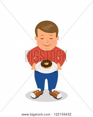Fat boy standing and holding a plate with donuts. Overweight. Concept design of proper nutrition. Sad male figure obese is isolated on a white background.