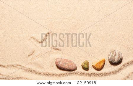 Mark Of Starfish And Sea Stones On Sand