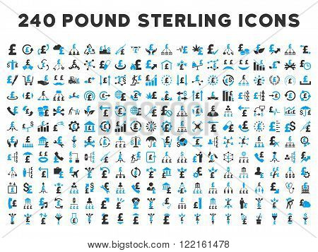 240 British Business vector icons. Style is bicolor blue and gray flat symbols on a white background. Pound sterling icon is basic element.