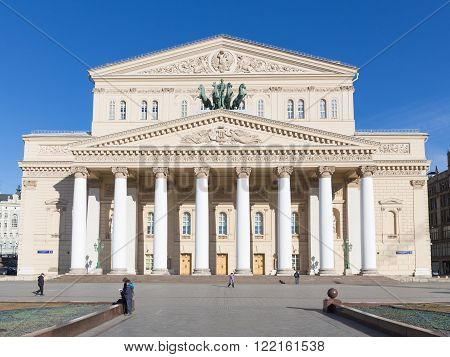 Moscow - March 13 2016: Great Russian State Academic Bolshoi Theatre - Opera and Ballet Theatre on a background of blue sky March 13 2016 Moscow Russia