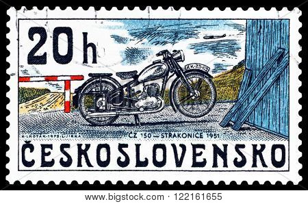 CZECHOSLOVAKIA - CIRCA 1975: A stamp printed in Czechoslovakia shows old motorcycle Strakonice 1951 a series of motorcycles CIRCA 1975