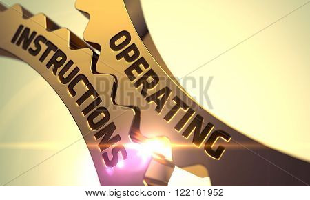 Operating Instructions on Mechanism of Golden Cogwheels with Glow Effect. Operating Instructions - Industrial Illustration with Glow Effect and Lens Flare. Operating Instructions - Concept. 3D Render.