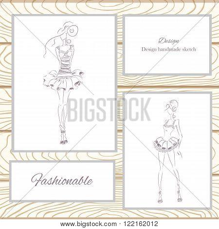 Vector fashion model. Vector sketch silhouette. Vector vintage lady. Dress pencil sketch. Vector fashion outline. Vector style  lady. Vector fashion girl. Wood decorations.