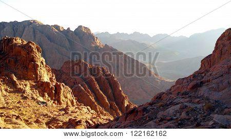 Egypt, Sinai, Mount Moses, panorama mountains rocks