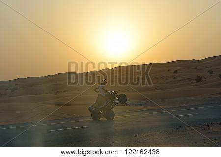 DUBAI UAE - SEPTEMBER 12: The Dubai desert trip in off-road car is major tourists attraction in Dubai on September 12 2013 in Dubai UAE