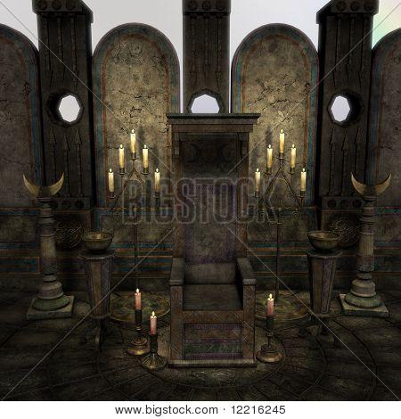 altar arcaico em um cenário de fantasia