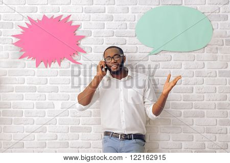 Afro American Man With Speech Bubble