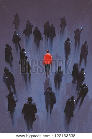 one red man standing with other people with phone unique person in the crowd illustration