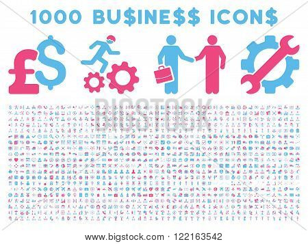 1000 Business vector icons. Pictogram style is bicolor pink and blue flat icons on a white background. Pound and dollar currency icons are used