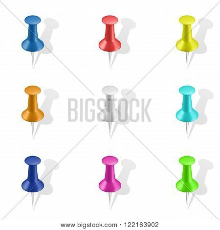 Set of push pins in different colors. Thumbtacks.  Vector illustration. Isolated on white background. Set icon. Pin set. Thumbtack vector set. Driving design. Isolated image.