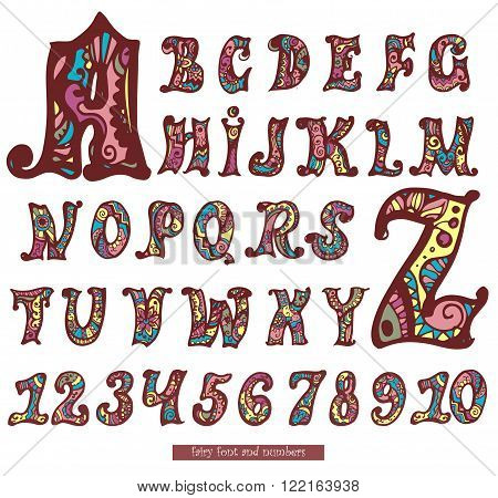 Set of fairy color letters and numbers