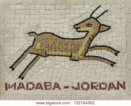 Illustration prancing gazelle. National designs Jordan mosaic. Jordanian souvenir shop.