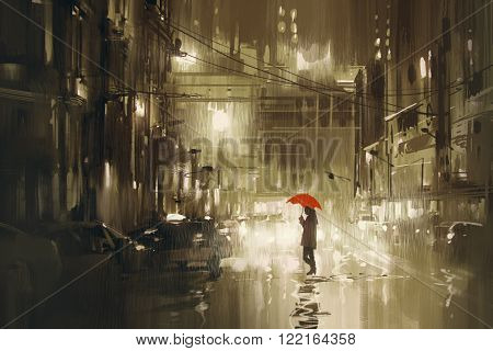 woman with red umbrella crossing the street rainy night illustration