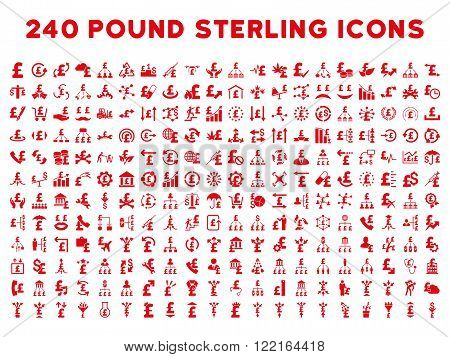 240 British Business vector icons. Style is red flat symbols on a white background. Pound sterling icon is basic element.
