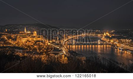 Panoramic View of Budapest with Street Lights and the Danube River at Night as Seen from Gellert Hill Lookout Point