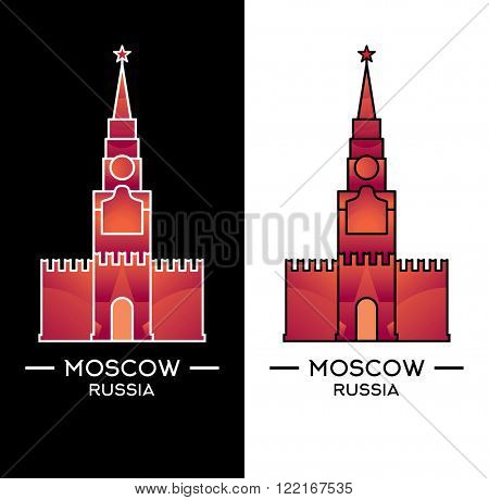 Spasskaya Tower isolated on white and black background. Vector illustration. Moscow landmark can use as logo or bage.