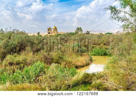 view on St.John church near baptism site in Jordan river Valley. Autumn sunny day in Jordan.