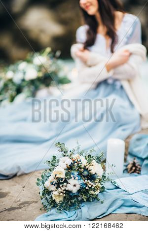 The Bride's Bouquet On Stones