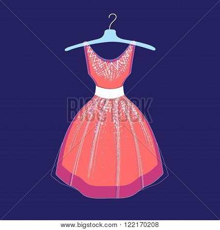 Beautiful illustration of fashionable dress on a blue background