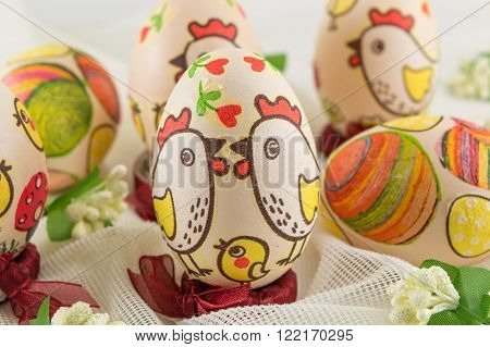 Chicken themed and decoupage decorated Easter eggs