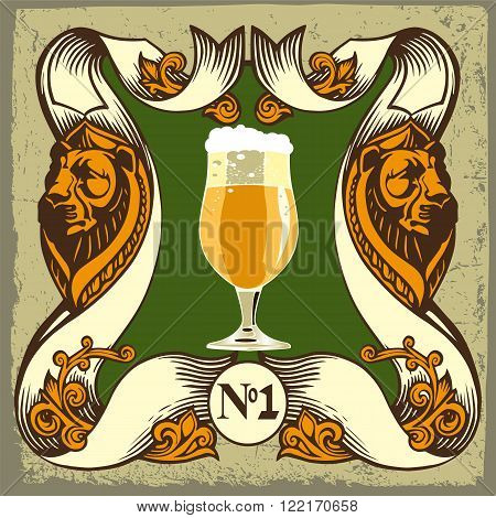 Beer label design. Beer label contains images of beer glass, lions, coat  of arms on vintage background. Vintage style.