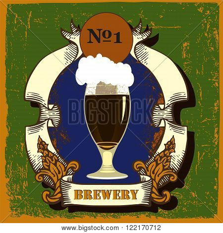 Beer label design.Beer label contains images of coat of arms,ribbons and beer glass with dark beer on vintage background. Vintage style.