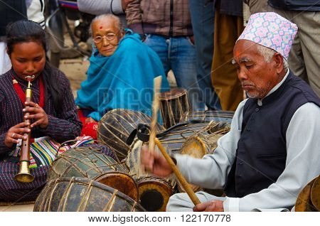 Unidentified Musicians Performing Live Music In Bhaktapur, Nepal.