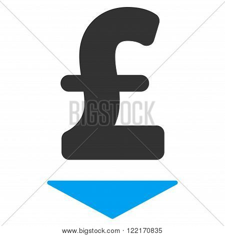 Pound Down vector icon. Pound Down icon symbol. Pound Down icon image. Pound Down icon picture. Pound Down pictogram. Flat pound down icon. Isolated pound down icon graphic.