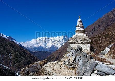 Stupa On The Way To Everest Base Camp In Himalayas, Nepal