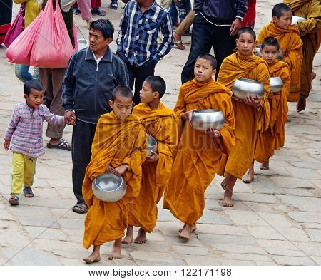 Little Buddhist Monks In Bhaktapur